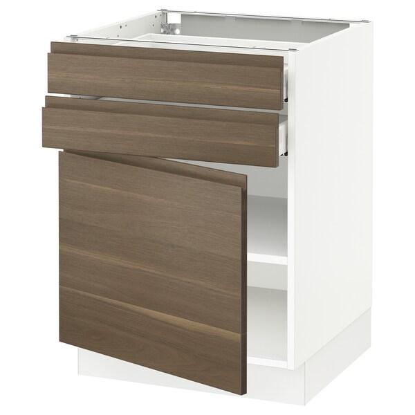 "SEKTION / MAXIMERA Base cabinet w door/2 drawers, white/Voxtorp walnut effect, 24x24x30 """