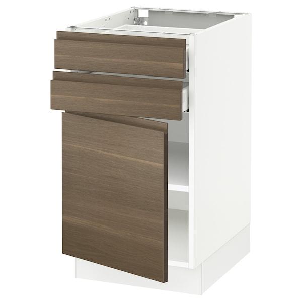 "SEKTION / MAXIMERA Base cabinet w door/2 drawers, white/Voxtorp walnut effect, 18x24x30 """