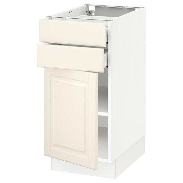 "SEKTION / MAXIMERA base cabinet w door/2 drawers white/Bodbyn off-white 15 "" 24 "" 24 3/4 "" 30 """