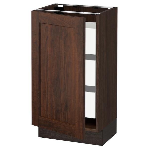 "SEKTION / MAXIMERA Base cabinet with 1 door/3 drawers, brown/Edserum brown, 18x15x30 """
