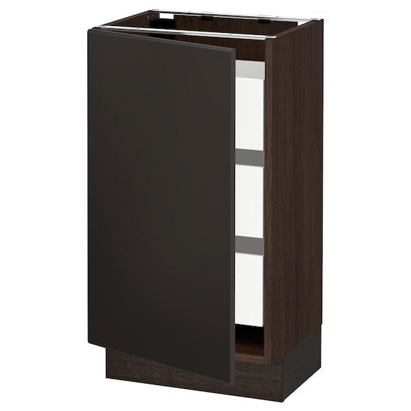 """SEKTION / MAXIMERA Base cabinet with 1 door/3 drawers, brown/Kungsbacka anthracite, 18x15x30 """""""