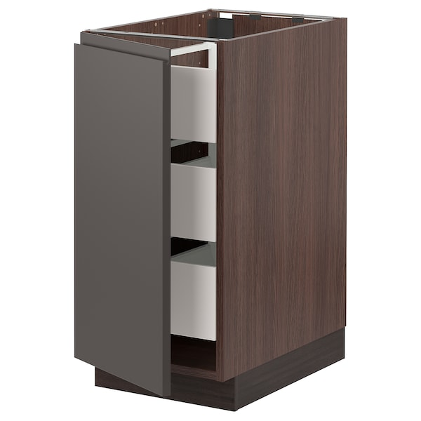 SEKTION / MAXIMERA Base cabinet with 1 door/3 drawers, brown/Voxtorp dark gray, 15x24x30 ""