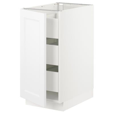 SEKTION / MAXIMERA Base cabinet with 1 door/3 drawers, white/Axstad matt white, 15x24x30 ""