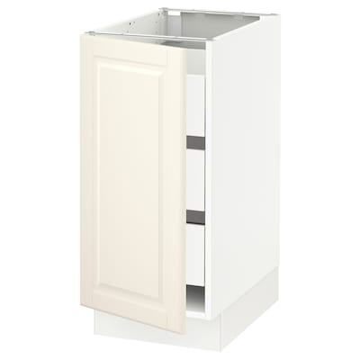 "SEKTION / MAXIMERA base cabinet with 1 door/3 drawers white/Bodbyn off-white 15 "" 24 "" 24 3/4 "" 30 """