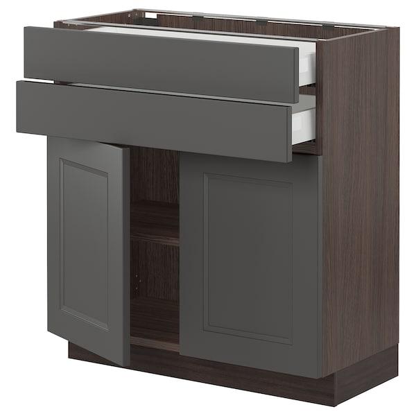 "SEKTION / MAXIMERA Base cabinet with 2 doors/2 drawers, brown/Axstad dark gray, 30x15x30 """