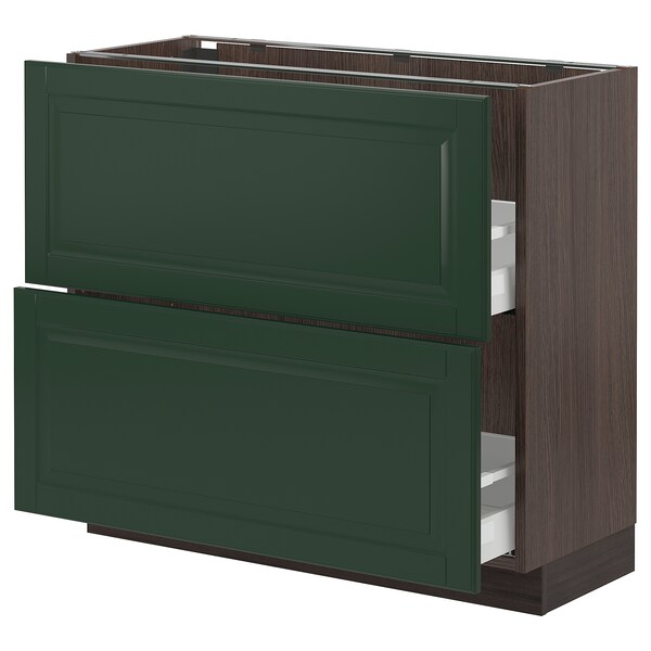 SEKTION / MAXIMERA Base cabinet with 2 drawers, brown/Bodbyn dark green, 36x15x30 ""