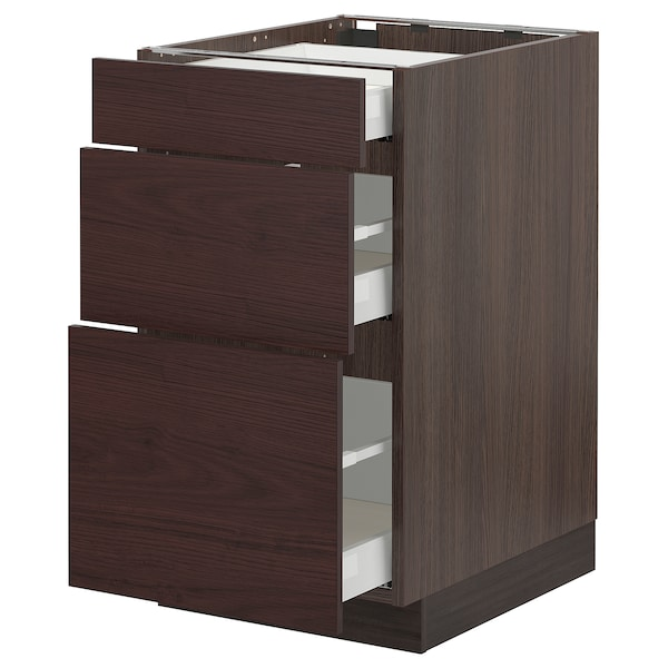 SEKTION / MAXIMERA Base cabinet with 3 drawers, brown Askersund/dark brown ash effect, 18x24x30 ""