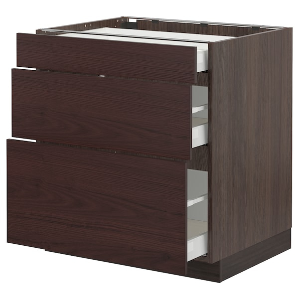 SEKTION / MAXIMERA Base cabinet with 3 drawers, brown Askersund/dark brown ash effect, 30x24x30 ""