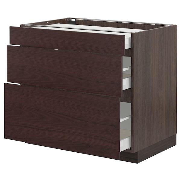 "SEKTION / MAXIMERA Base cabinet with 3 drawers, brown Askersund/dark brown ash effect, 36x24x30 """
