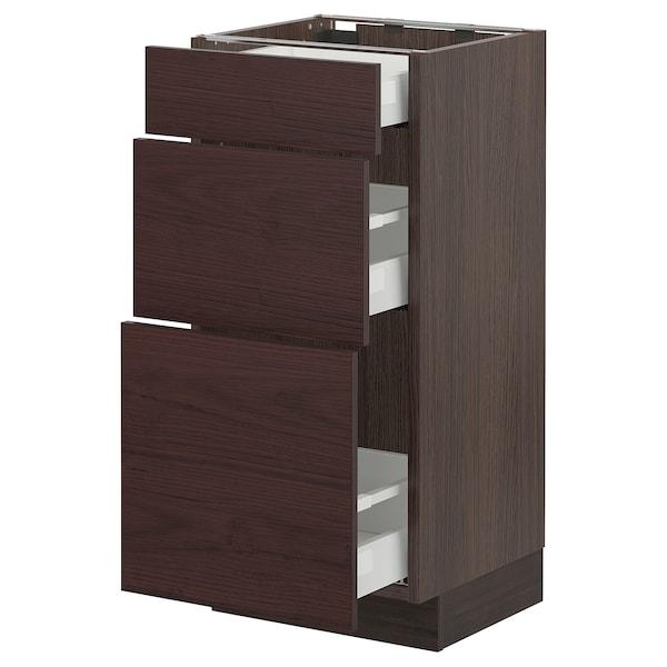 "SEKTION / MAXIMERA Base cabinet with 3 drawers, brown Askersund/dark brown ash effect, 15x15x30 """