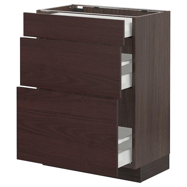 "SEKTION / MAXIMERA Base cabinet with 3 drawers, brown Askersund/dark brown ash effect, 24x15x30 """