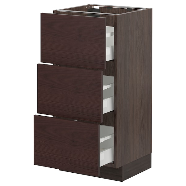 SEKTION / MAXIMERA Base cabinet with 3 drawers, brown Askersund/dark brown ash effect, 15x15x30 ""