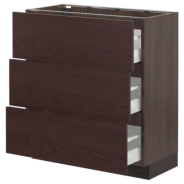 "SEKTION / MAXIMERA Base cabinet with 3 drawers, brown Askersund/dark brown ash effect, 30x15x30 """