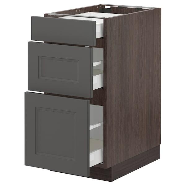 "SEKTION / MAXIMERA Base cabinet with 3 drawers, brown/Axstad dark gray, 15x24x30 """