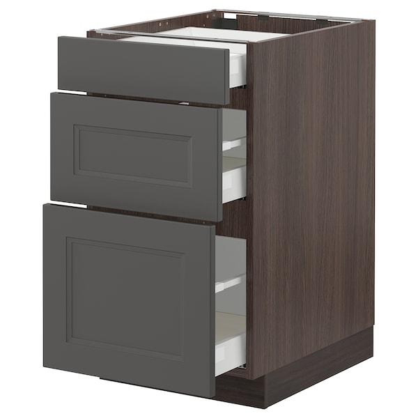 "SEKTION / MAXIMERA Base cabinet with 3 drawers, brown/Axstad dark gray, 18x24x30 """