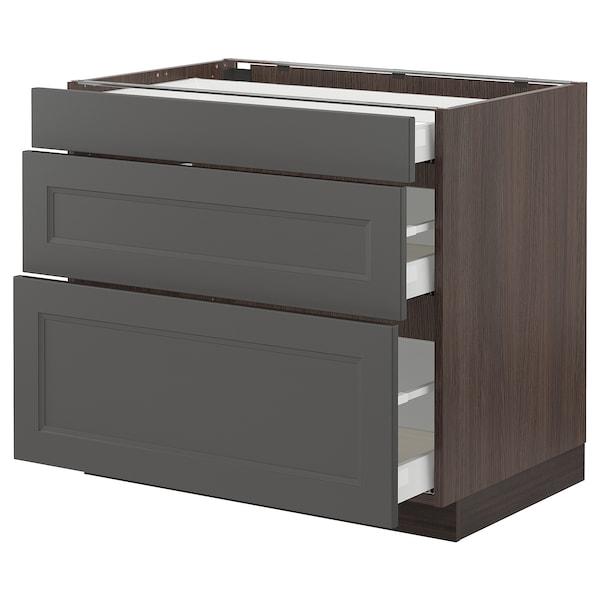 "SEKTION / MAXIMERA Base cabinet with 3 drawers, brown/Axstad dark gray, 36x24x30 """