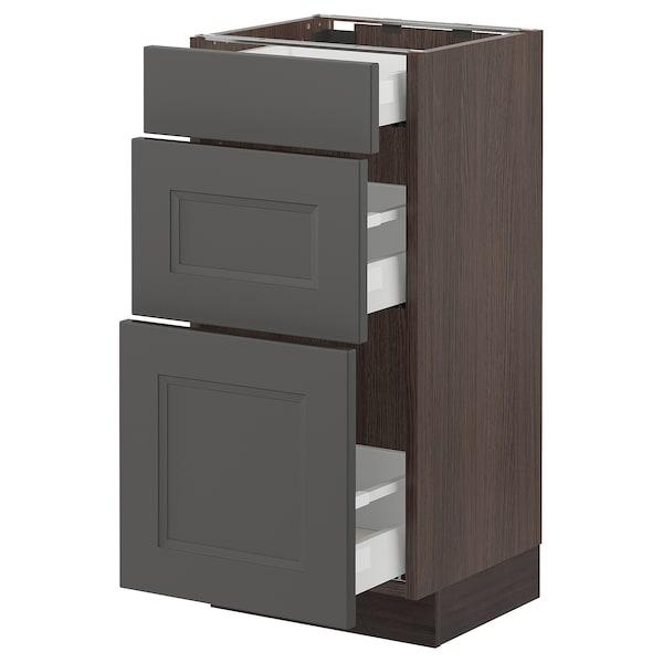 "SEKTION / MAXIMERA Base cabinet with 3 drawers, brown/Axstad dark gray, 15x15x30 """