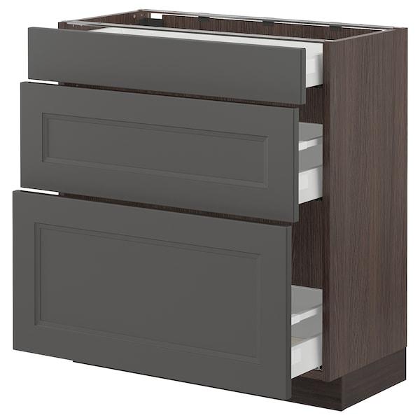"SEKTION / MAXIMERA Base cabinet with 3 drawers, brown/Axstad dark gray, 30x15x30 """