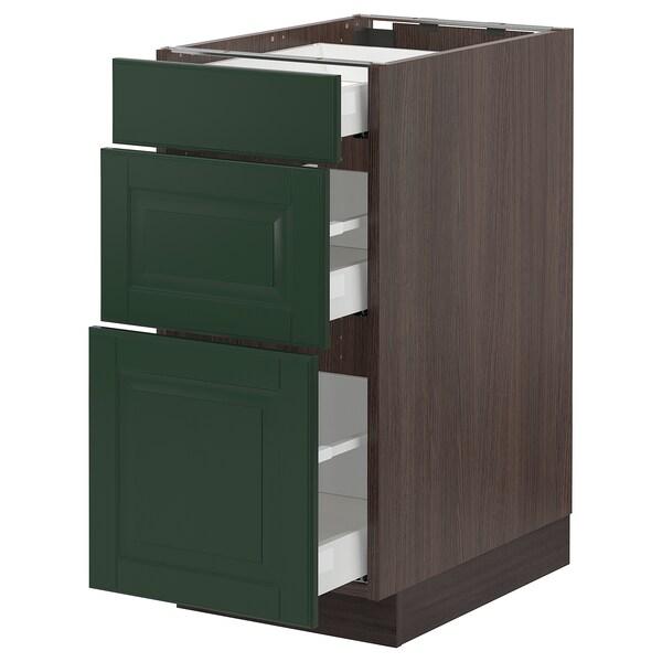 "SEKTION / MAXIMERA Base cabinet with 3 drawers, brown/Bodbyn dark green, 15x24x30 """