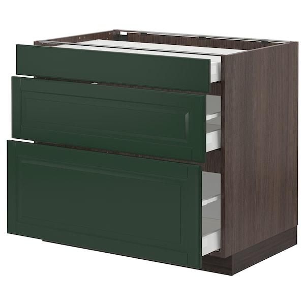 "SEKTION / MAXIMERA Base cabinet with 3 drawers, brown/Bodbyn dark green, 36x24x30 """