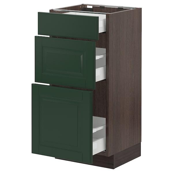 "SEKTION / MAXIMERA Base cabinet with 3 drawers, brown/Bodbyn dark green, 15x15x30 """