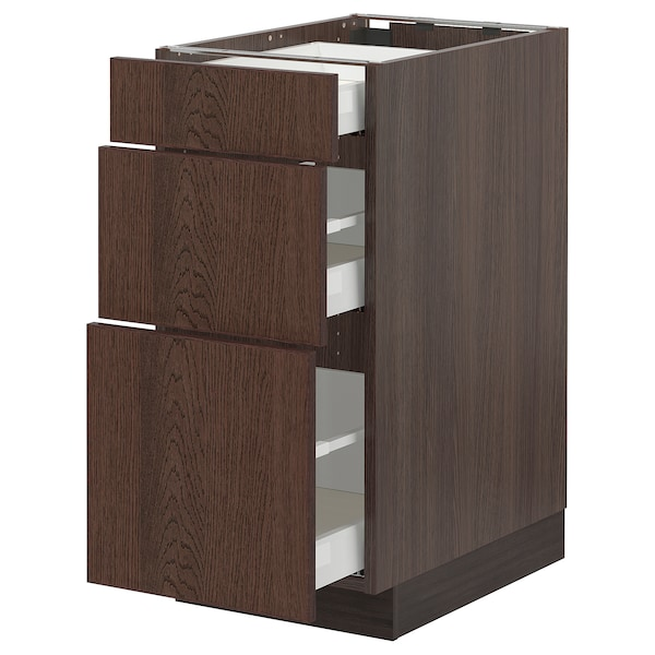 """SEKTION / MAXIMERA Base cabinet with 3 drawers, brown/Sinarp brown, 15x24x30 """""""