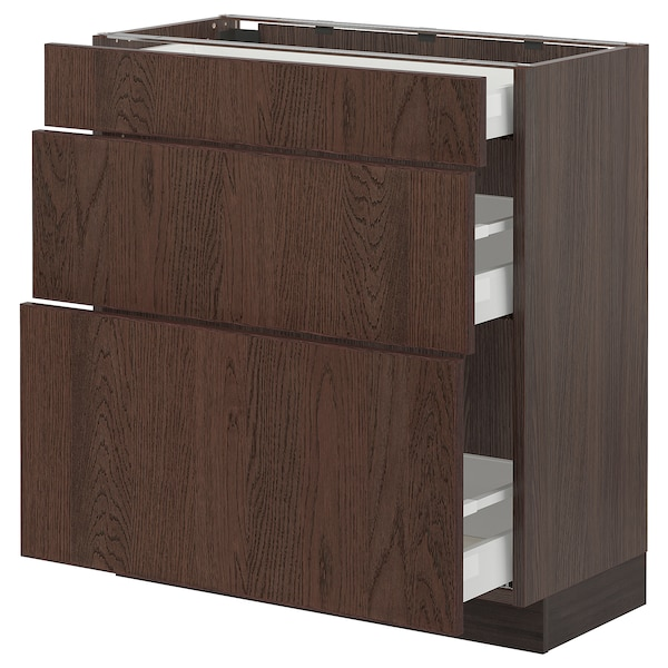 SEKTION / MAXIMERA Base cabinet with 3 drawers, brown/Sinarp brown, 30x15x30 ""