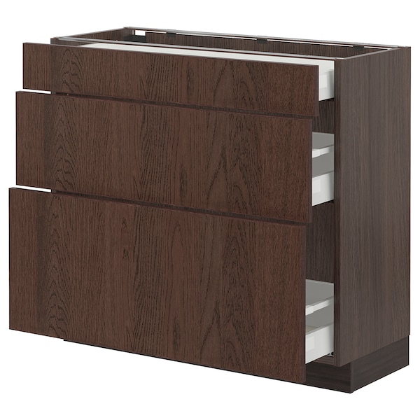 """SEKTION / MAXIMERA Base cabinet with 3 drawers, brown/Sinarp brown, 36x15x30 """""""