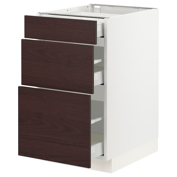 "SEKTION / MAXIMERA Base cabinet with 3 drawers, white Askersund/dark brown ash effect, 18x24x30 """