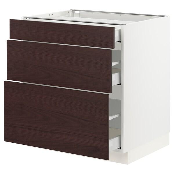 "SEKTION / MAXIMERA Base cabinet with 3 drawers, white Askersund/dark brown ash effect, 30x24x30 """