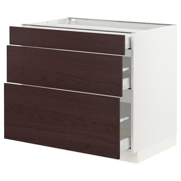 "SEKTION / MAXIMERA Base cabinet with 3 drawers, white Askersund/dark brown ash effect, 36x24x30 """