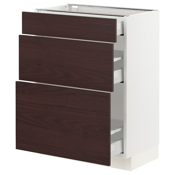 "SEKTION / MAXIMERA Base cabinet with 3 drawers, white Askersund/dark brown ash effect, 24x15x30 """
