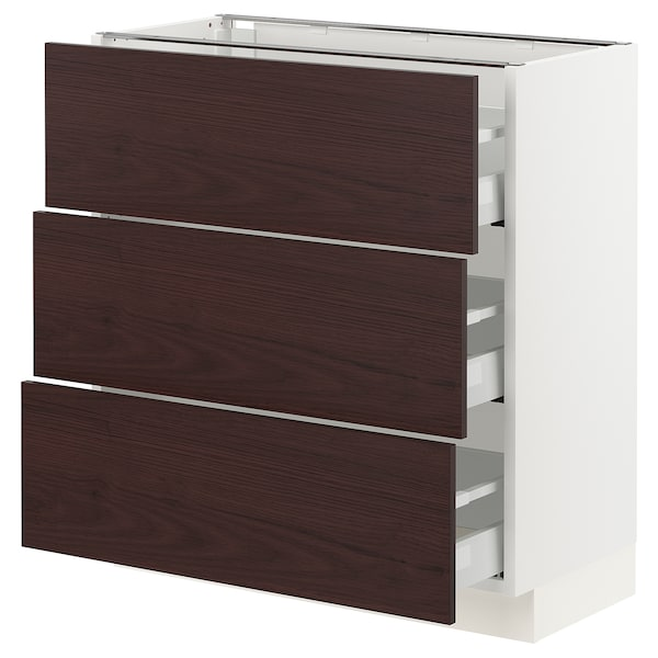 SEKTION / MAXIMERA Base cabinet with 3 drawers, white Askersund/dark brown ash effect, 30x15x30 ""