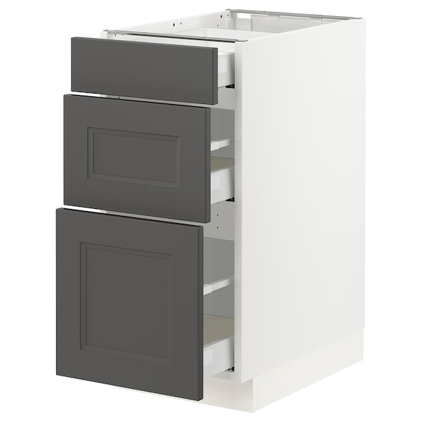 "SEKTION / MAXIMERA Base cabinet with 3 drawers, white/Axstad dark gray, 15x24x30 """