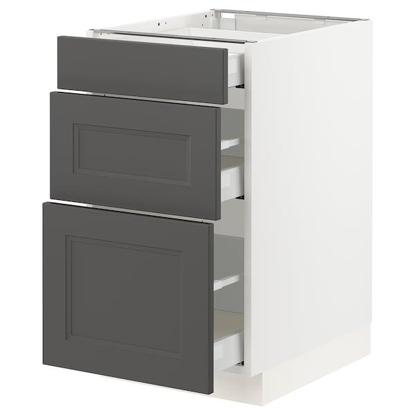 "SEKTION / MAXIMERA Base cabinet with 3 drawers, white/Axstad dark gray, 18x24x30 """