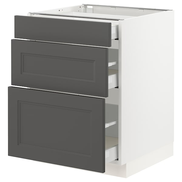 SEKTION / MAXIMERA Base cabinet with 3 drawers, white/Axstad dark gray, 24x24x30 ""