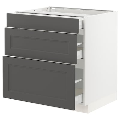 SEKTION / MAXIMERA Base cabinet with 3 drawers, white/Axstad dark gray, 30x24x30 ""