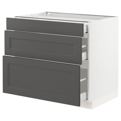 SEKTION / MAXIMERA Base cabinet with 3 drawers, white/Axstad dark gray, 36x24x30 ""