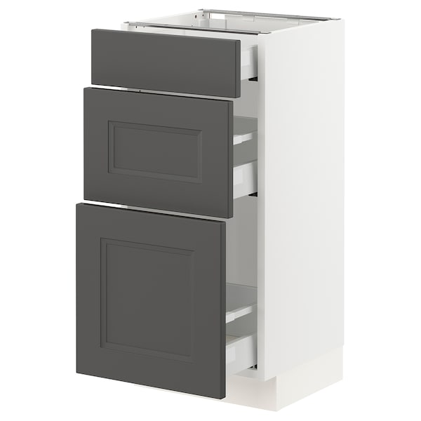 "SEKTION / MAXIMERA Base cabinet with 3 drawers, white/Axstad dark gray, 15x15x30 """