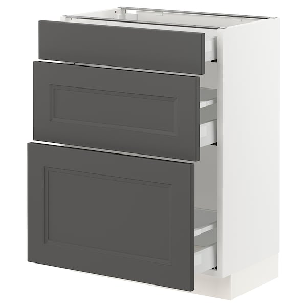 "SEKTION / MAXIMERA Base cabinet with 3 drawers, white/Axstad dark gray, 24x15x30 """