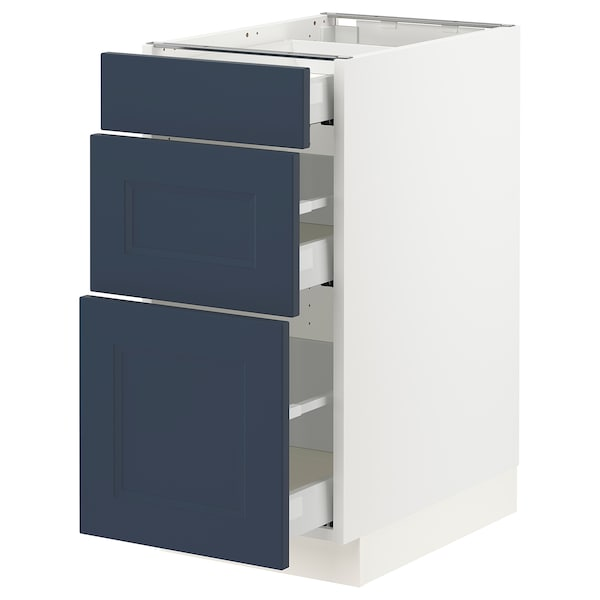 SEKTION / MAXIMERA Base cabinet with 3 drawers, white Axstad/matte blue, 15x24x30 ""