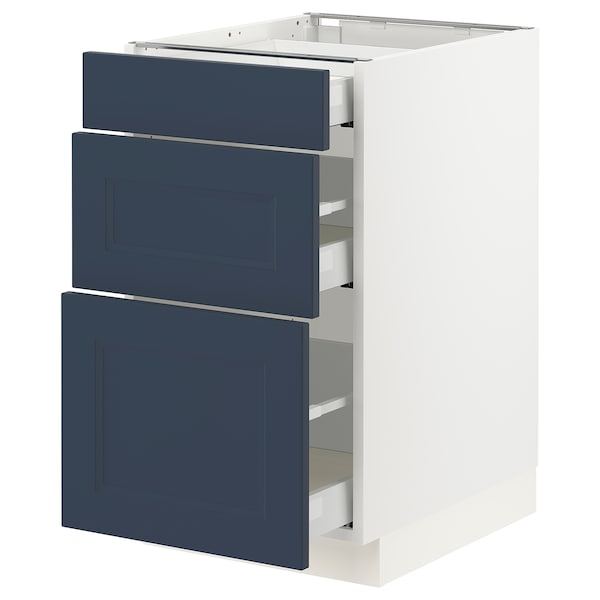 SEKTION / MAXIMERA Base cabinet with 3 drawers, white Axstad/matte blue, 18x24x30 ""