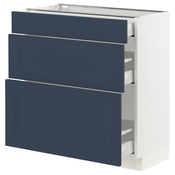 SEKTION / MAXIMERA Base cabinet with 3 drawers, white Axstad/matte blue, 30x15x30 ""