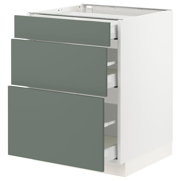 "SEKTION / MAXIMERA Base cabinet with 3 drawers, white/Bodarp gray-green, 24x24x30 """