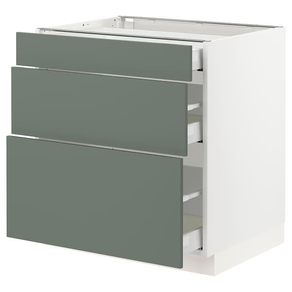 "SEKTION / MAXIMERA Base cabinet with 3 drawers, white/Bodarp gray-green, 30x24x30 """