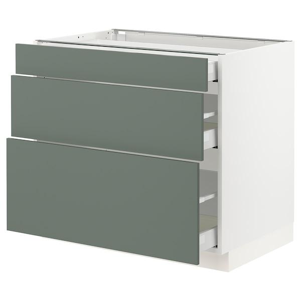 "SEKTION / MAXIMERA Base cabinet with 3 drawers, white/Bodarp gray-green, 36x24x30 """
