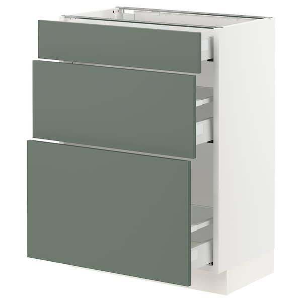 SEKTION / MAXIMERA Base cabinet with 3 drawers, white/Bodarp gray-green, 24x15x30 ""