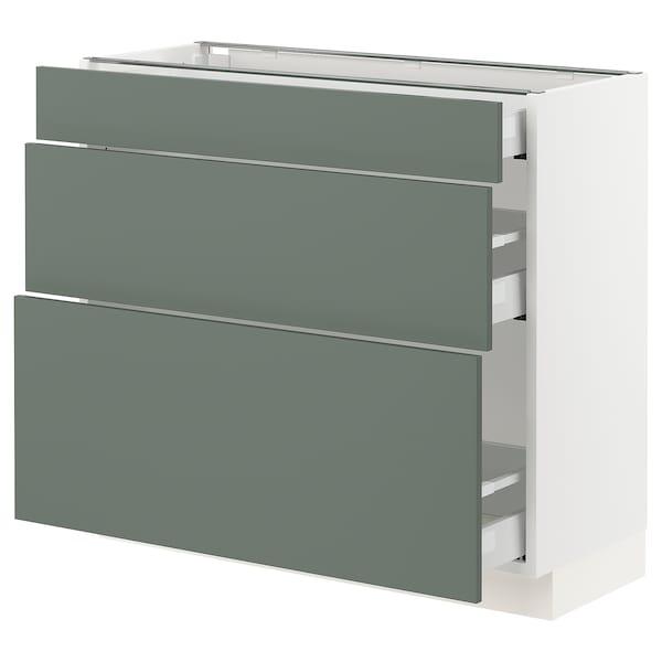 "SEKTION / MAXIMERA Base cabinet with 3 drawers, white/Bodarp gray-green, 36x15x30 """