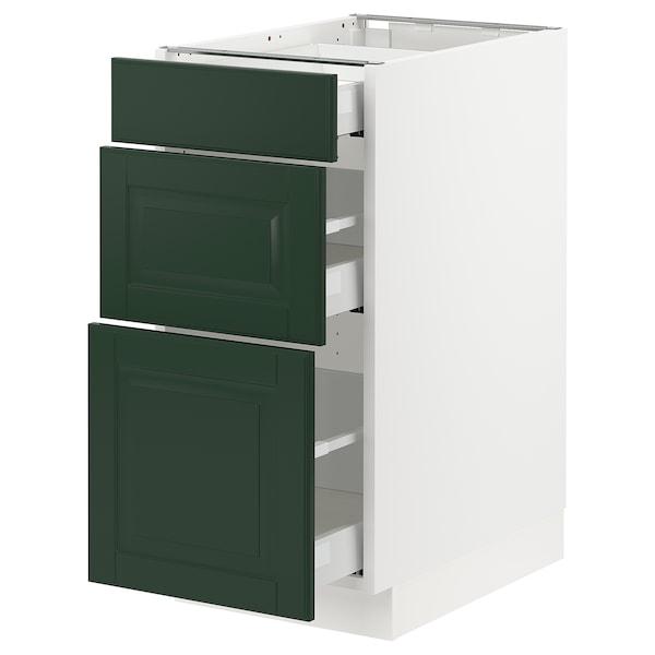 "SEKTION / MAXIMERA Base cabinet with 3 drawers, white/Bodbyn dark green, 15x24x30 """