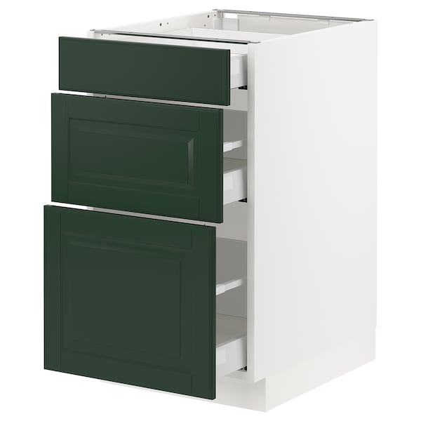 SEKTION / MAXIMERA Base cabinet with 3 drawers, white/Bodbyn dark green, 18x24x30 ""
